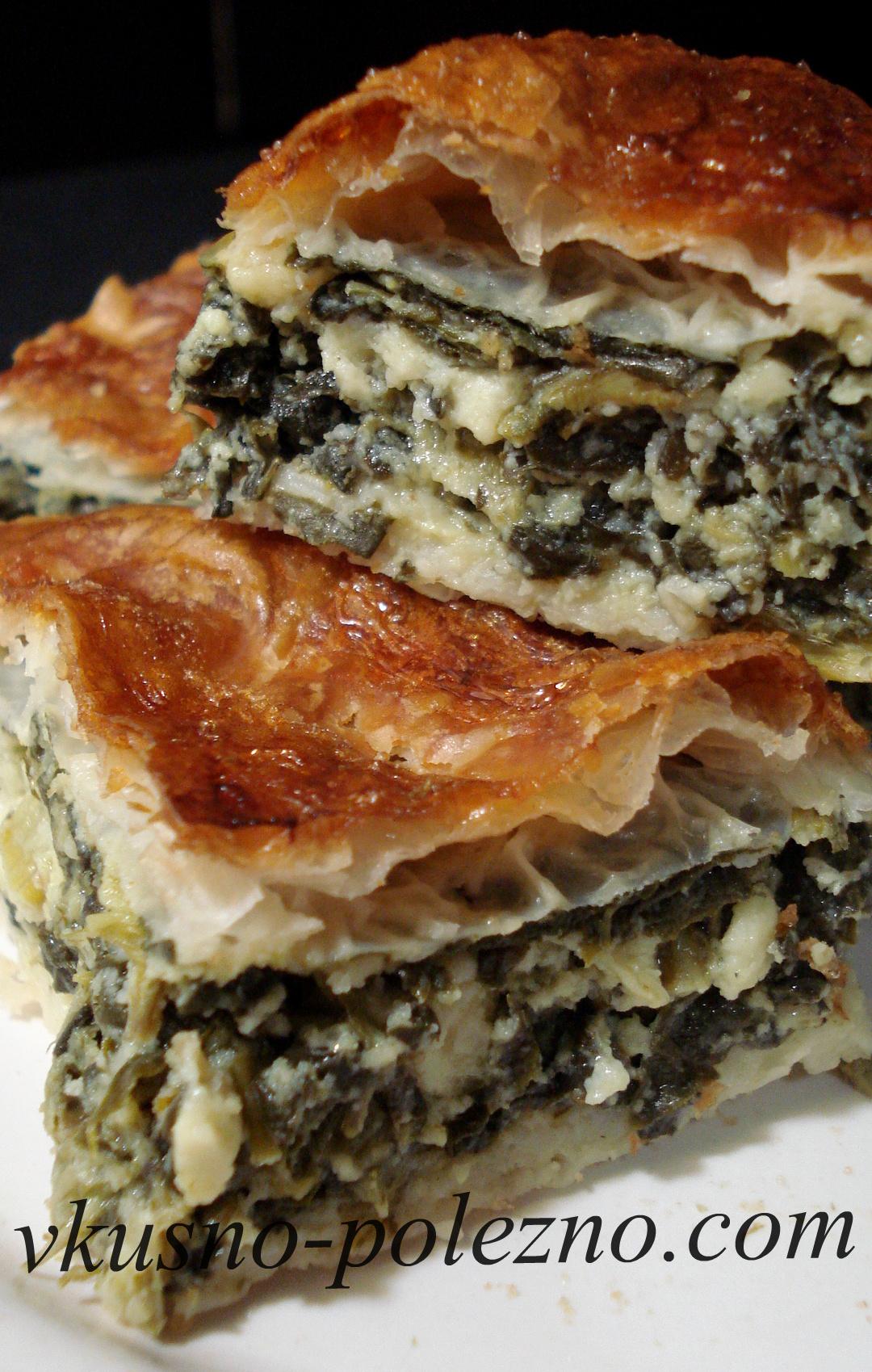 пирог со шпинатом и сыром из слоеного теста рецепт с фото