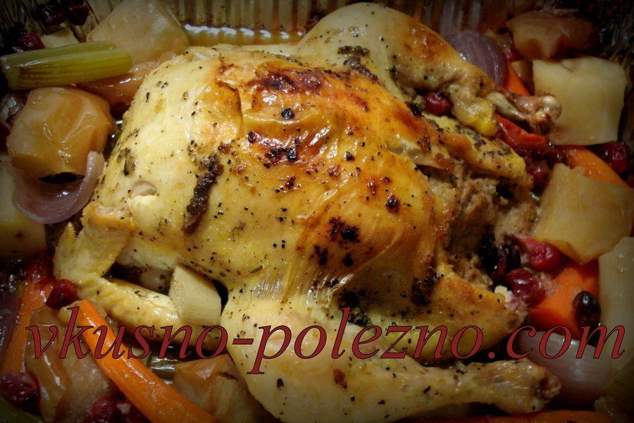 Курица с клюквой в духовке